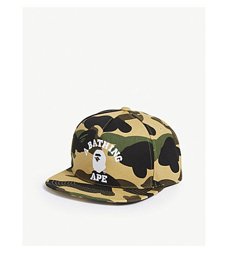 d8670f01bea A BATHING APE College camouflage snapback cap (Yellow