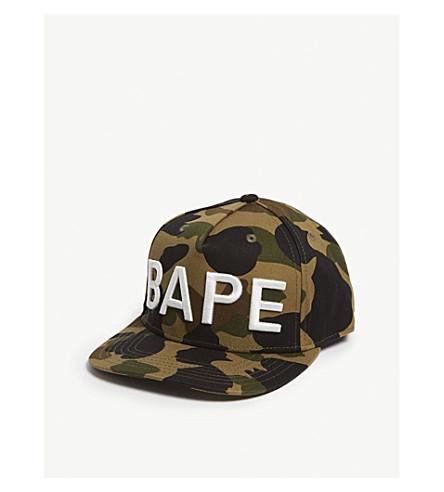 3860a901cc1 A BATHING APE Camo snapback cap (Green
