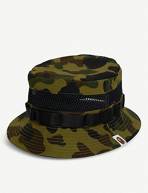 new arrivals 51cdf 7e47e A BATHING APE Camouflage mesh cotton bucket hat