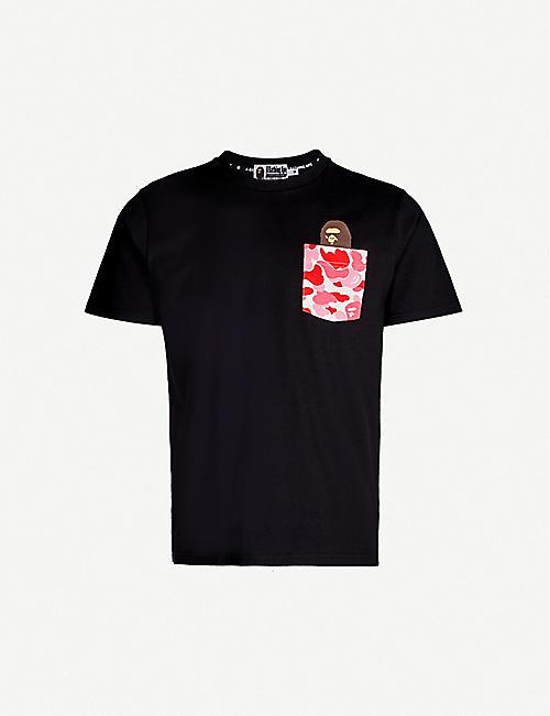440fd567 A BATHING APE Camouflage logo-print cotton-jersey T-shirt