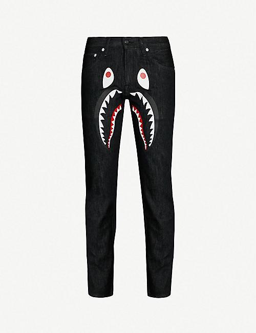 53c3ff739565 A BATHING APE Shark-print regular-fit straight jeans