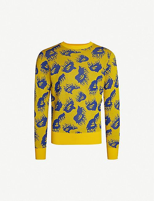 55324f877616 A BATHING APE Fire pattern wool-blend jumper