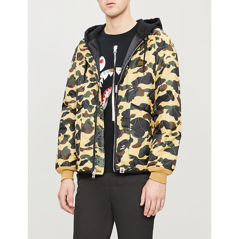 A BATHING APE Quilted Camouflage-Print Shell Jacket in Yellow