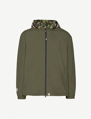A BATHING APE Shark camouflage-print hooded shell jacket