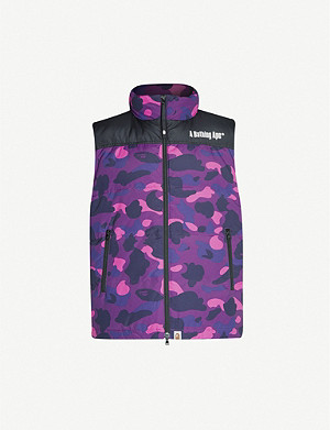 A BATHING APE Camo-print shell-down gilet