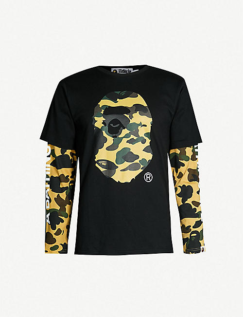 7f912698ea15 A BATHING APE Camouflage logo-graphic cotton-jersey T-shirt