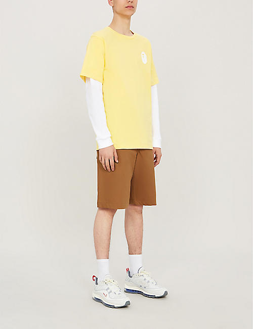 A BATHING APE Layered cotton-jersey top