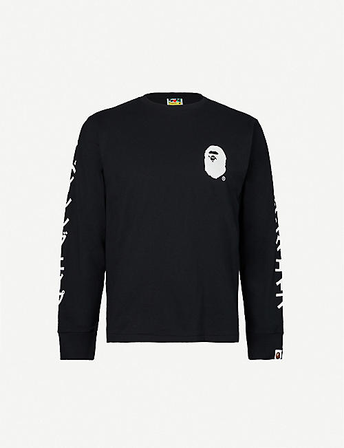 A BATHING APE Katakana logo-print cotton-jersey top