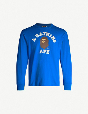 A BATHING APE College logo-print cotton-jersey top