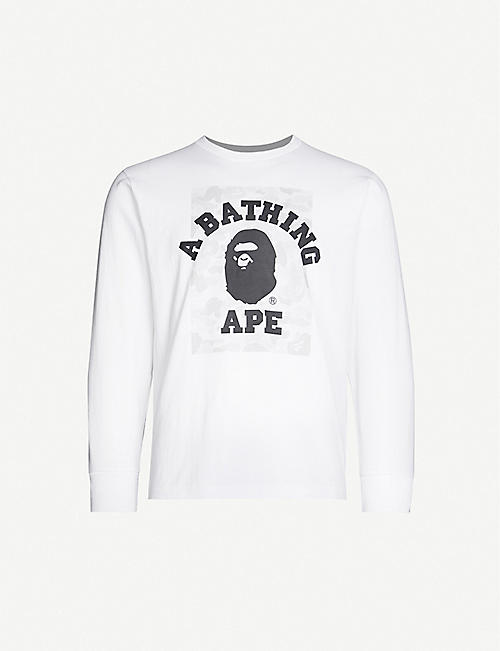 A BATHING APE Logo-print camouflage cotton-jersey top