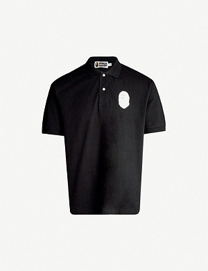 A BATHING APE Logo-appliquéd oversized cotton-piqué polo shirt