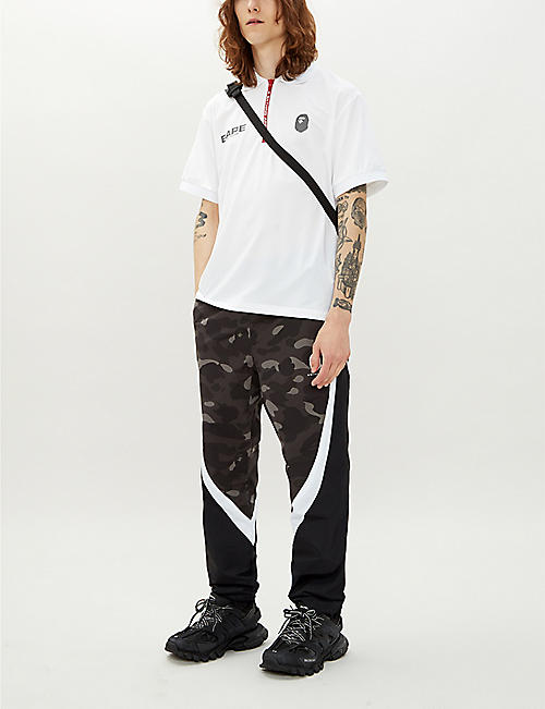 A BATHING APE Reflective logo-detail jersey polo shirt