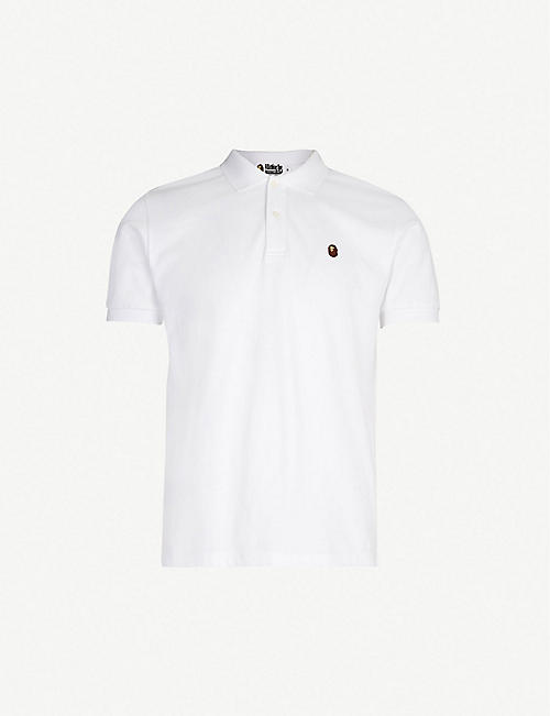 f58586d7be0d A BATHING APE Logo-embroidered cotton-piqué polo shirt