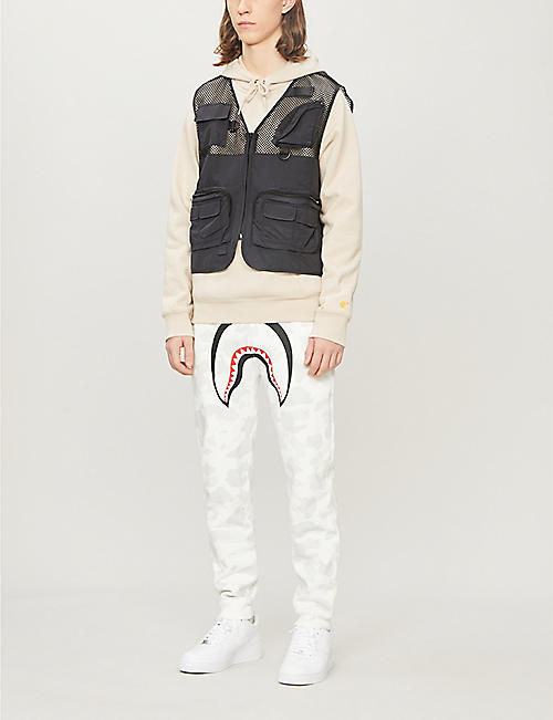 A BATHING APE Shark cotton-jersey jogging bottoms