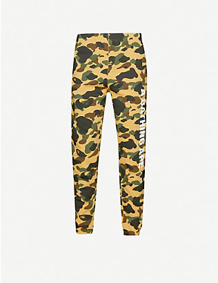 A BATHING APE: 1st Camo tapered cotton-jersey tracksuit bottoms
