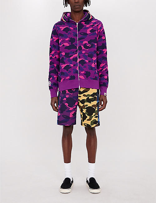 A BATHING APE Logo-print camouflage cotton-jersey shorts