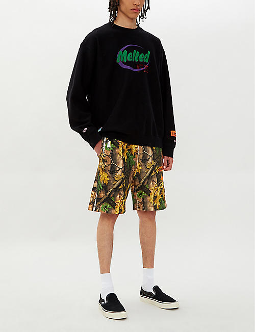 A BATHING APE Forest camouflage-print regular-fit cotton-jersey shorts