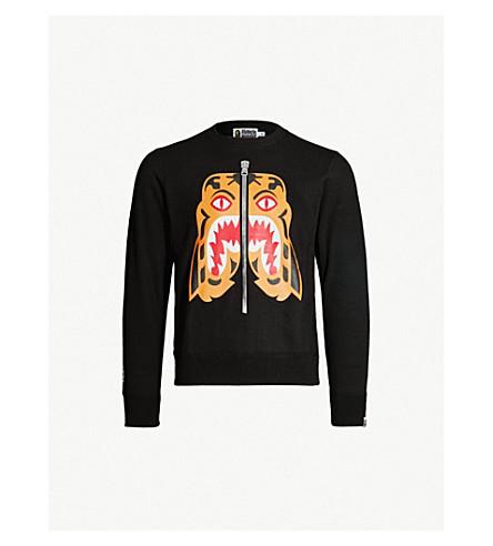 8fb3e1499d4d A BATHING APE - Tiger-motif cotton-jersey sweatshirt