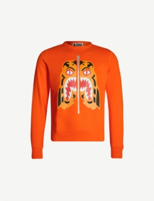 A BATHING APE Tiger-motif cotton-jersey sweatshirt