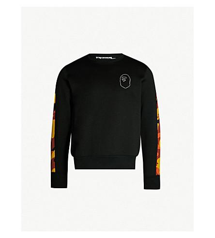 5b719a9f3b2b A BATHING APE Embellished camouflage-panel cotton-jersey sweatshirt