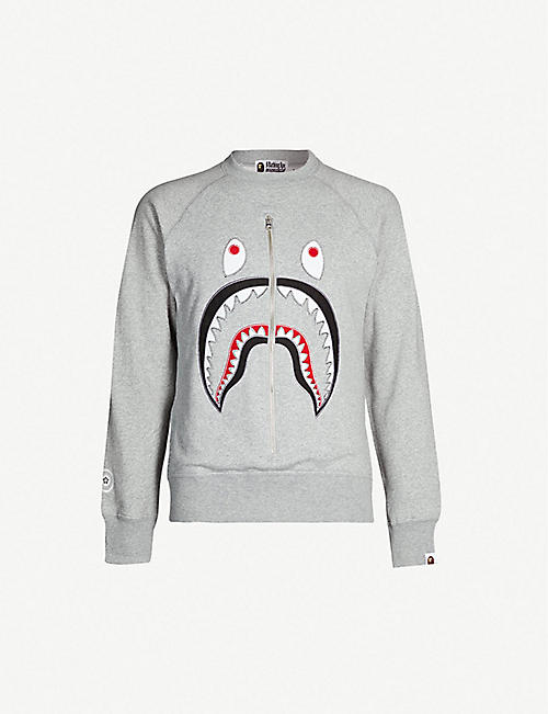 A BATHING APE Shark-applique cotton-jersey sweatshirt 2cdca53e1