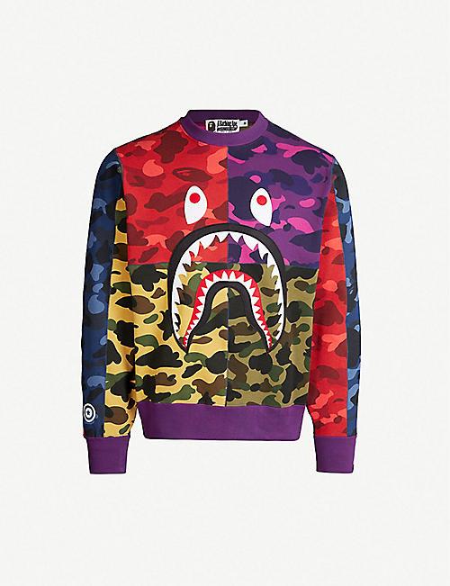 d65d28919dff A BATHING APE Colour-blocked camouflage-print cotton-jersey sweatshirt