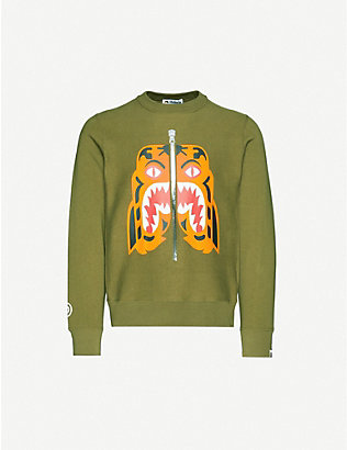 A BATHING APE: Tiger print cotton-jersey sweatshirt