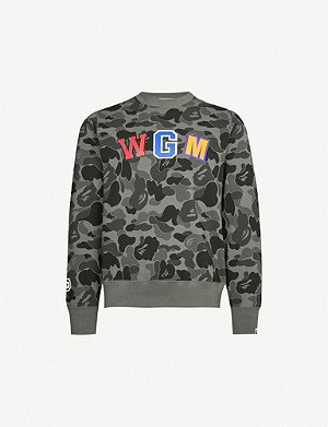 A BATHING APE Graphic-print cotton-jersey sweatshirt