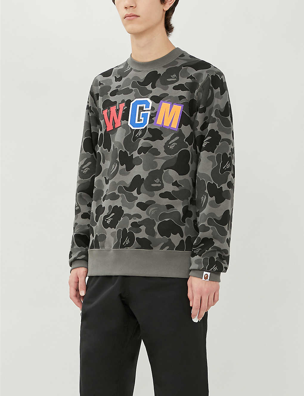 A BATHING APE: Graphic-print cotton-jersey sweatshirt