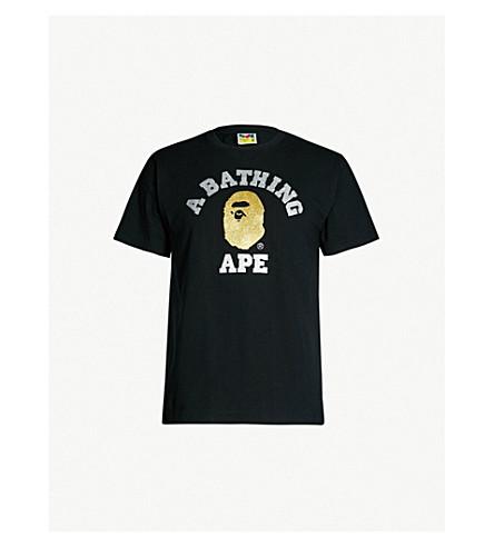 021e39cc9 A BATHING APE - Glitter-logo cotton-jersey T-shirt   Selfridges.com