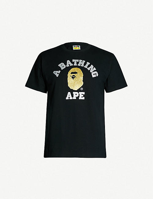 A BATHING APE Glitter-logo cotton-jersey T-shirt e9b44264b7