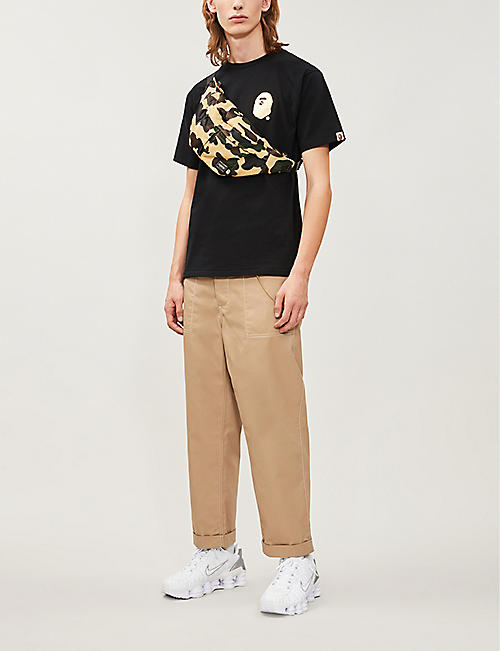 BAPE Logo-print metallic cotton-jersey T-shirt