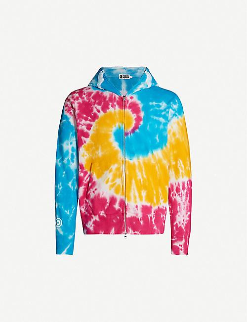 d06e5052b0d A BATHING APE Shark tie-dye cotton-jersey hoody