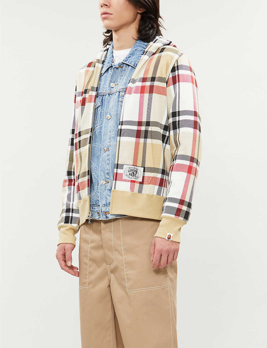A BATHING APE: Graphic-print cotton-jersey plaid hoody
