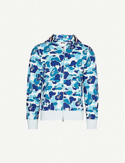 A BATHING APE Shark camouflage-print cotton-jersey hoody