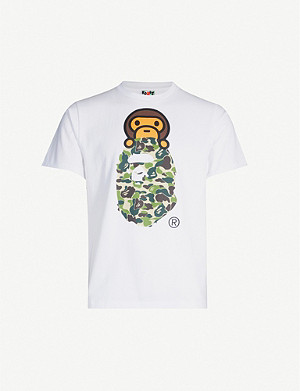 A BATHING APE Graphic-print crewneck cotton-jersey T-shirt