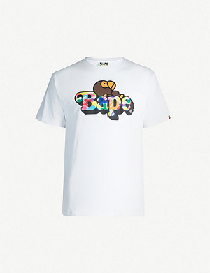 A BATHING APE Sleeping Milo-print cotton-jersey T-shirt