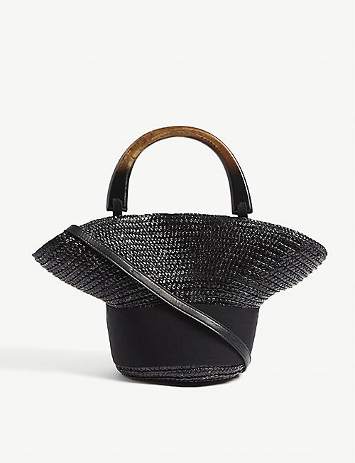 EUGENIA KIM Evie small straw shoulder bag
