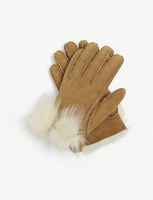 UGG Bow-detail long pile sheepskin gloves