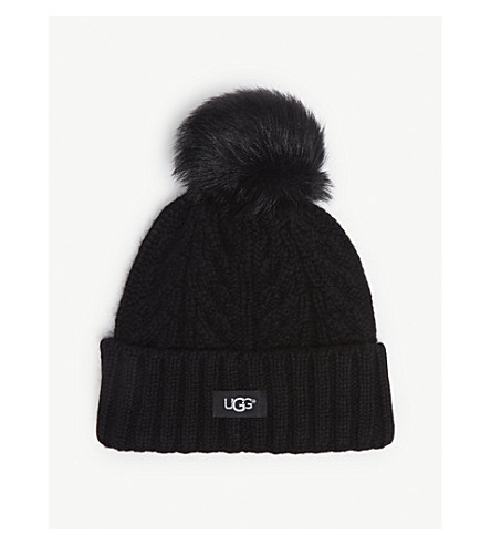 ... UGG Cable knit pompom beanie (Black. PreviousNext 6c2fca26ccf