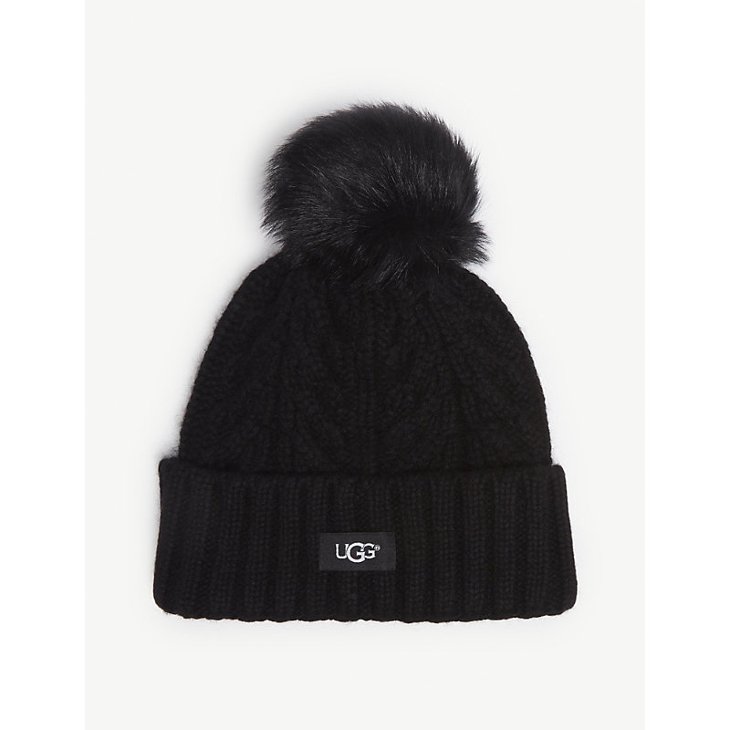 Ugg Cable Knit Pompom Beanie In Black  1ea1ce28ac8d