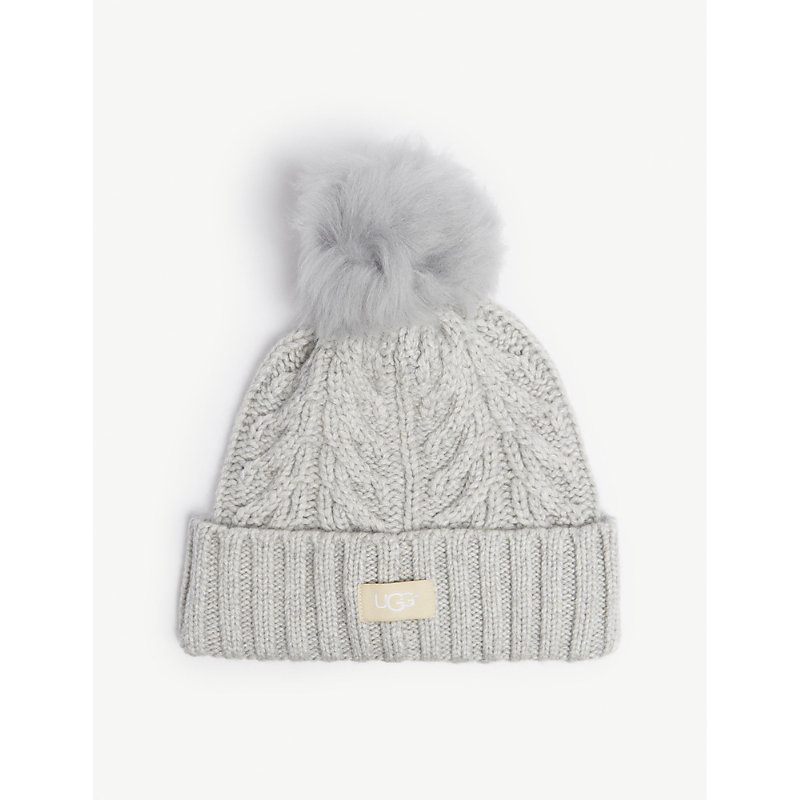 Ugg Cable Knit Pompom Beanie In Light Grey Heather  efb23e6d67c3