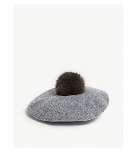 83435bc28f531 ... HELEN MOORE Pom-pom beret (Grey steel. PreviousNext