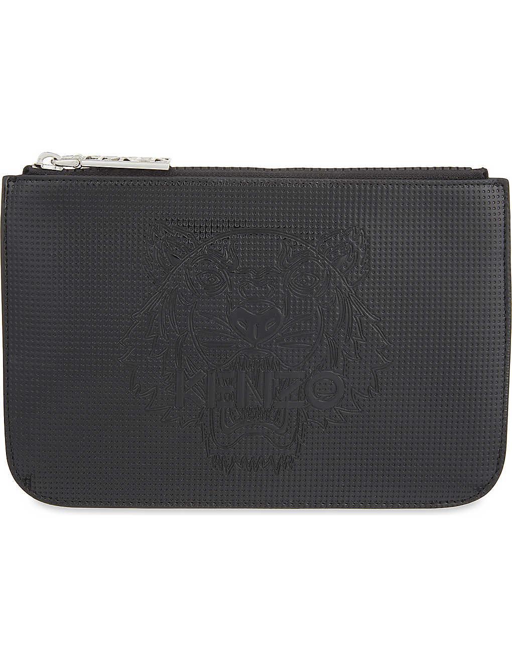 95e7db3228 KENZO - Tiger leather pouch   Selfridges.com