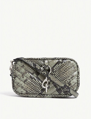 REBECCA MINKOFF Quilted python-embossed leather belt bag