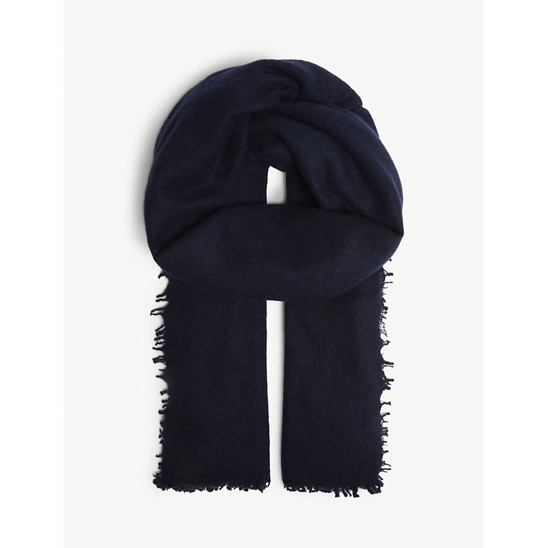 JANE CARR The Luxe Cashmere Scarf in Navy