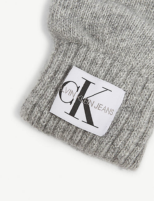 CALVIN KLEIN JEANS Logo knitted wool-blend gloves