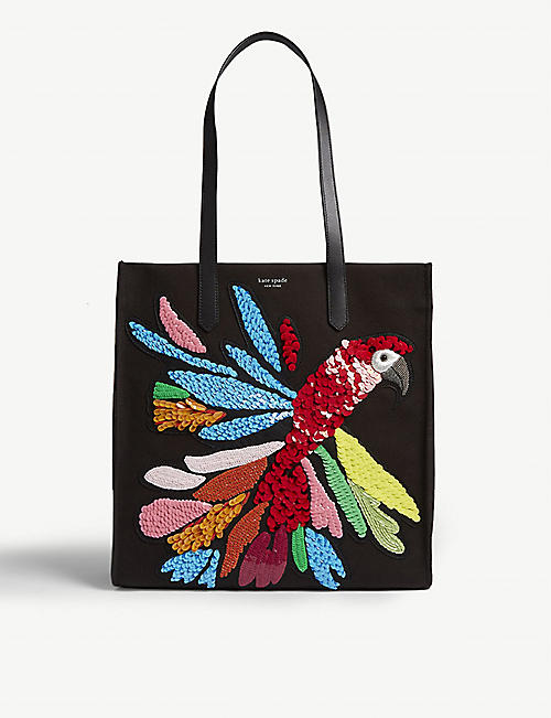 KATE SPADE NEW YORK Parrot cotton canvas tote