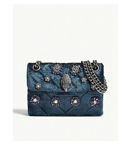c6418a9ef256 KURT GEIGER LONDON - Mini Kensington embellished velvet shoulder bag ...
