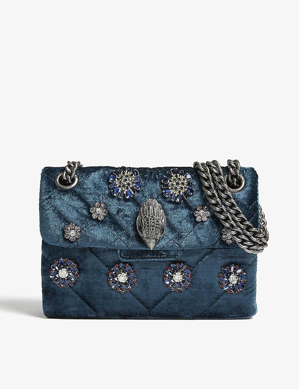 423fb75d2740 KURT GEIGER LONDON - Mini Kensington embellished velvet shoulder bag ...